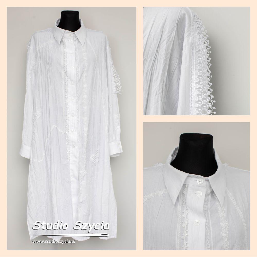 Długa biała koszula z wieloma ozdobami