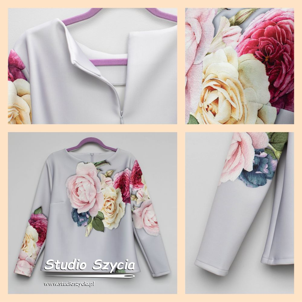 Szara bluzka z różami na pierwszym planie.