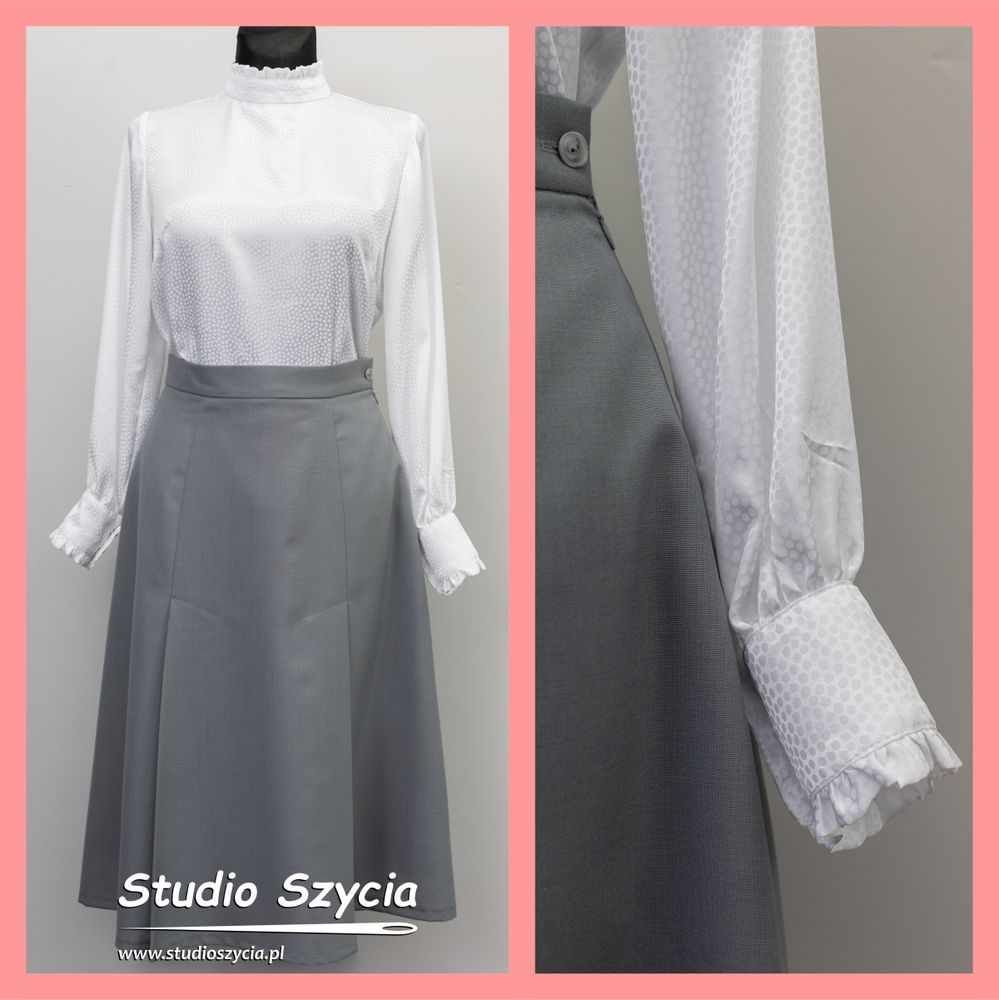 Biała bluzka i szara spódnica.