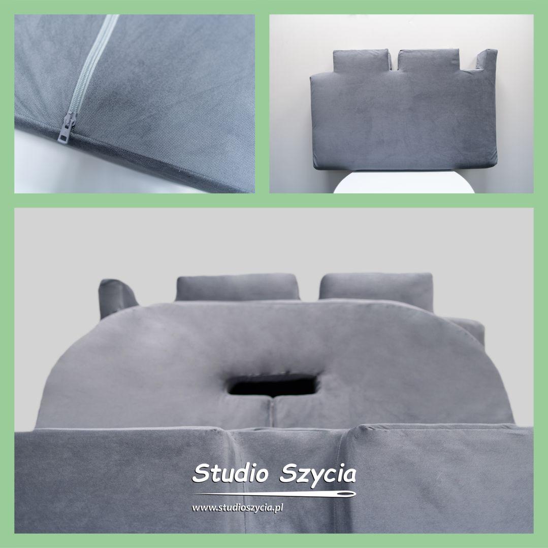 Szary pokrowiec na poduszki do kampera lub przyczepy kempingowej.