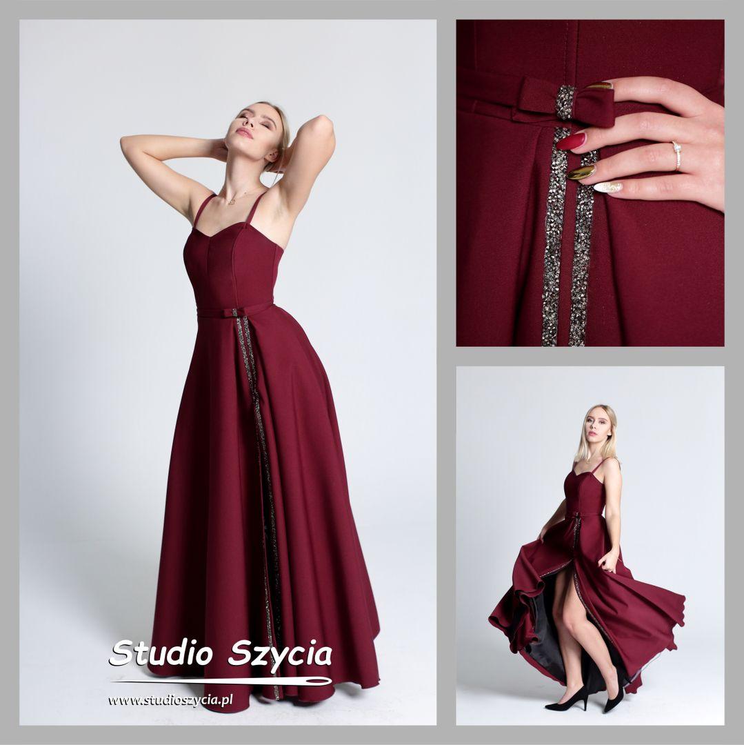 Suknia bal studniówkowy w kolorze bordowym.