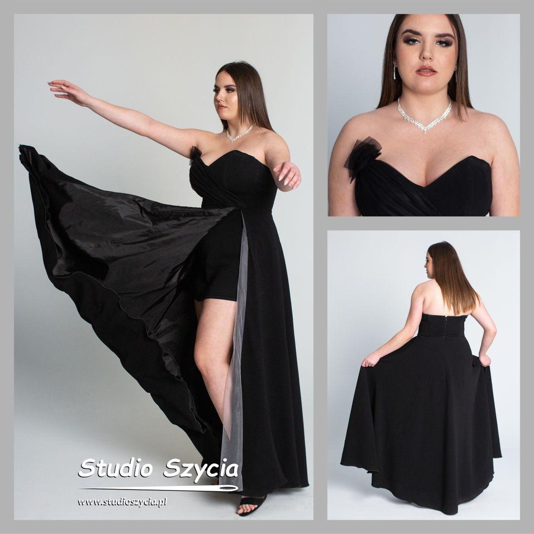 Czarna długa suknia na bal studniówkowy