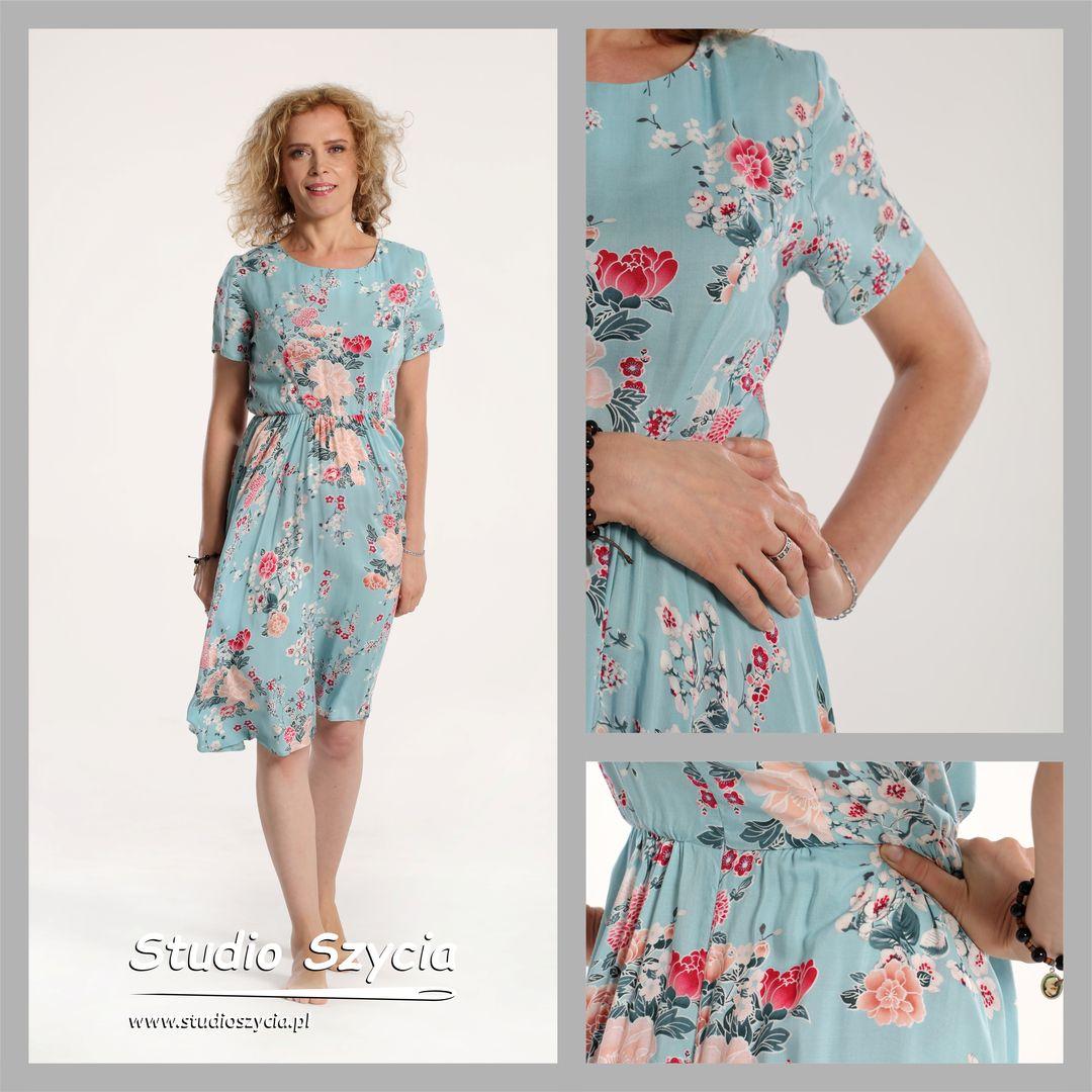 Sukienka, modelka, dojrzała, kobieta, kwiatek, pastelowy, niebieski,