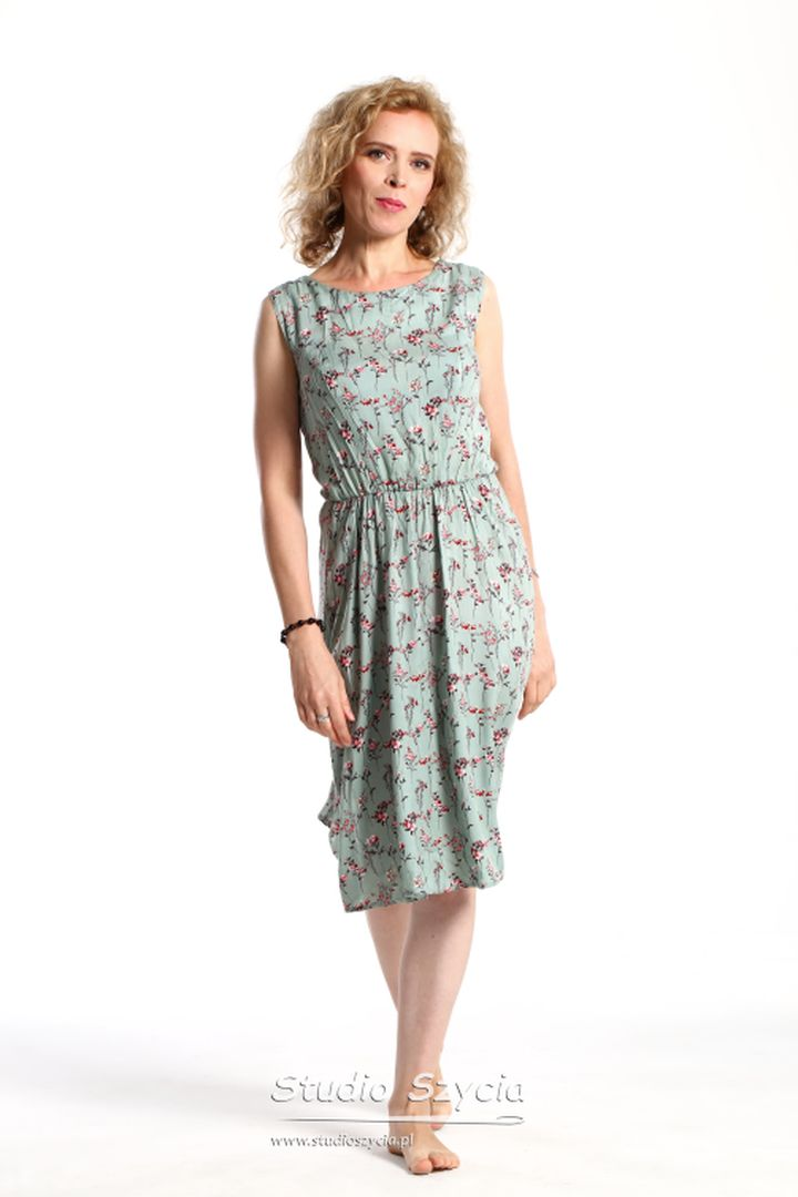 Sukienka, kobieta, kwiatek, modelka, dojrzała, pastelowy, niebieski, tkanina, dekolt,